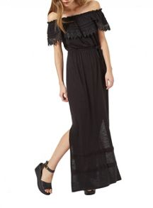 Miss Selfridge Black Crochet Bardot Maxi