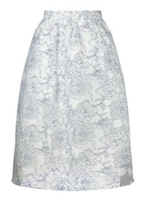 Miss Selfridge Blue Organza Midi Skirt