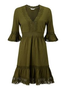 Miss Selfridge Khaki Crochet Dress