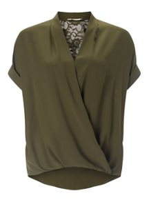Miss Selfridge Khaki Lace Back Drape Blouse