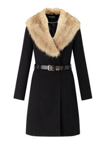 Miss Selfridge Black Fit And Flare Coat