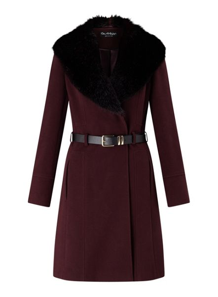 Miss Selfridge Burgundy Fit And Flare Coat