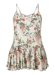 Miss Selfridge Grey Printed Lace Up Back Cami