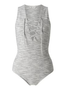 Miss Selfridge Grey Rib Lattice Body