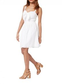 Miss Selfridge Petites Ivory Tie Front Dress