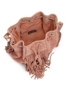 Miss Selfridge Nude Fringe Duffle Bag.