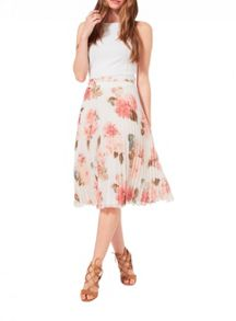 Miss Selfridge Floral Print Pleat Midi Skirt