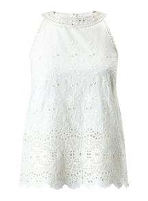 Miss Selfridge Ivory Embroidered Shell Top
