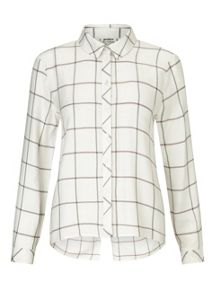 Miss Selfridge Petites Ivory Check Shirt