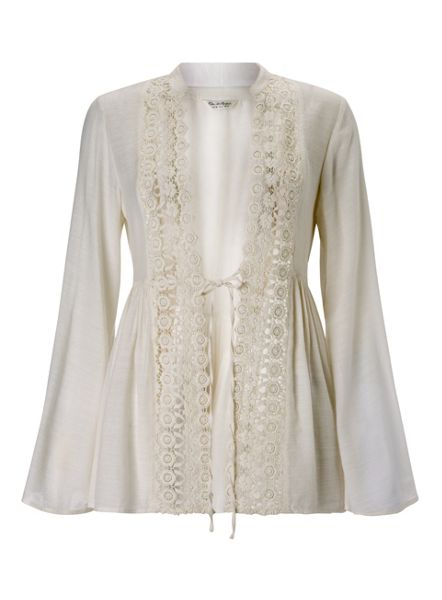 Miss Selfridge Ivory Lace Detail Shacket