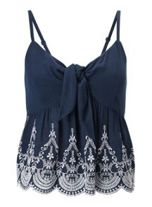 Miss Selfridge Petites Navy Tie Cami Top