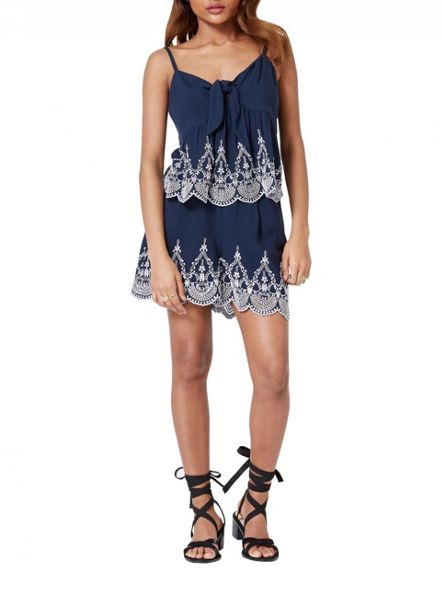 Miss Selfridge Petites Navy Embroidered Short