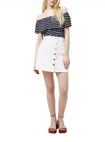 Miss Selfridge White Patch Pocket Denim Skirt