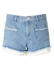 Miss Selfridge Petites Crochet Hem Short
