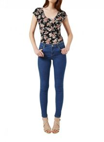 Miss Selfridge Floral Shortsleeve Scoop Body