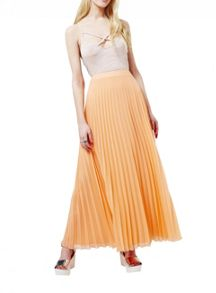 Miss Selfridge Coral Pleated Maxi Skirt