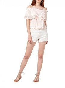 Miss Selfridge Peach Bardot Crochet Top