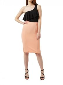 Miss Selfridge Peach Texured Pencil Skirt