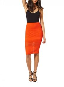 Miss Selfridge Coral Lazer Cut Skirt