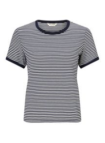 Miss Selfridge Cream And Navy Stripe Tee