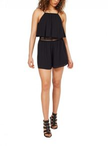Miss Selfridge Black Crochet Insert Playsuit
