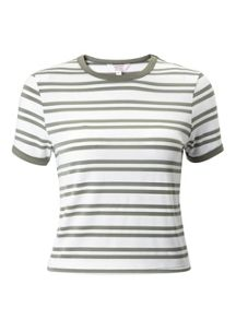Miss Selfridge Petites Khaki Twin Stripe Tee