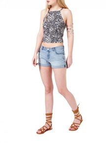 Miss Selfridge Bleach Roll Hem Denim Short
