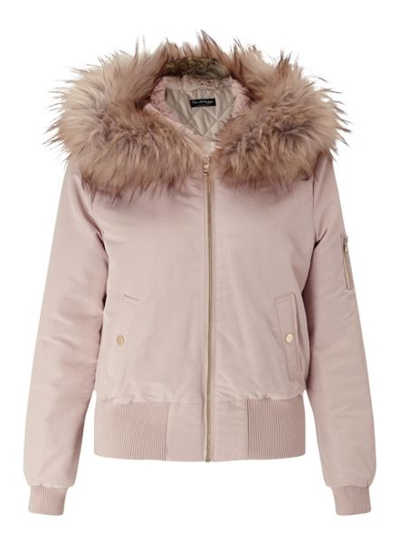 Miss Selfridge Nude Hooded Bomber Jacket