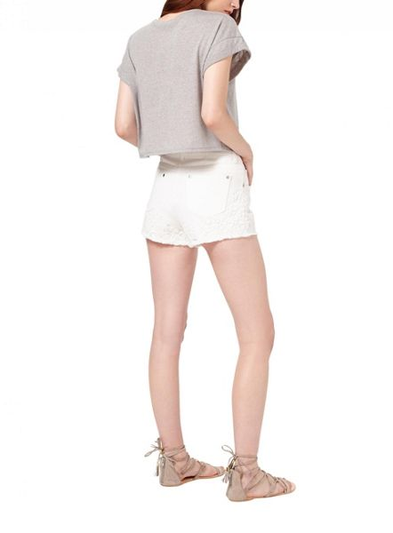 Miss Selfridge White Crochet Hem Denim Short