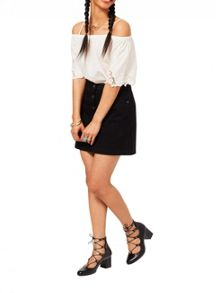 Miss Selfridge Black Button Denim Skirt