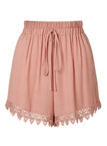 Miss Selfridge Pink Lace Hem Short