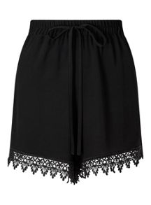 Miss Selfridge Black Lace Hem Short