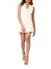 Miss Selfridge Petites Lemon Scallop Playsuit