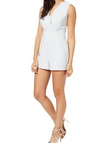 Miss Selfridge Petites Blue Scallop Playsuit