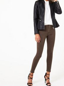 Miss Selfridge Black Peplum Biker