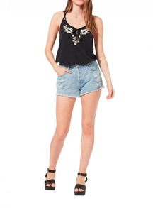 Miss Selfridge Black Crochet Embroidered Cami