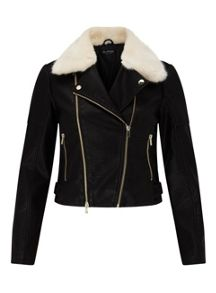 Miss Selfridge Cream Fur Collar Biker