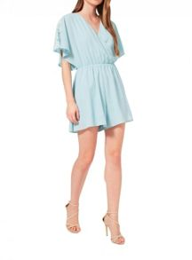 Miss Selfridge Aqua Lace Insert Playsuit