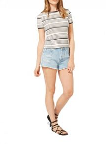 Miss Selfridge Cream Stripe Ringer Tee