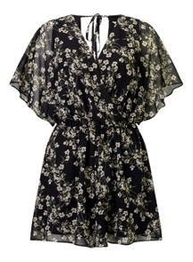 Miss Selfridge Floral Wrap Front Playsuit