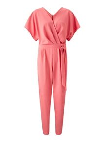 Miss Selfridge Coral Crepe Wrap Jumpsuit
