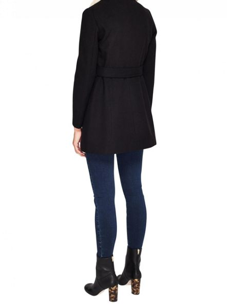 Miss Selfridge Petite Black Fur Collar Coat