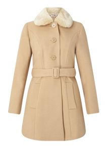 Miss Selfridge Petite Camel Fur Collar Coat