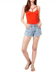 Miss Selfridge Orange Strappy T Bar Body