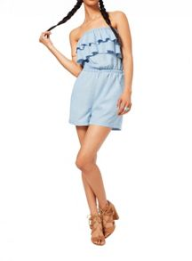 Miss Selfridge Denim Frill Playsuit