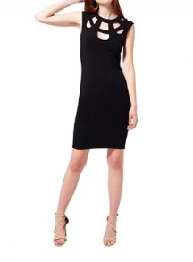 Miss Selfridge Black Caged Neck Bodyon Dress