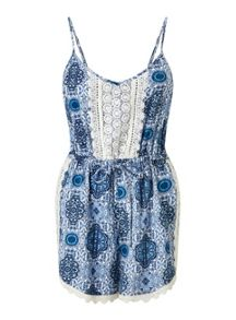 Miss Selfridge Petites Tile Print Playsuit