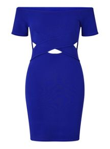 Miss Selfridge Petites Bardot Cut Out Dress