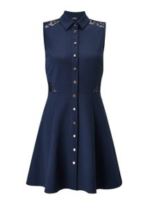 Miss Selfridge Petites Navy Lace Shirt Dress