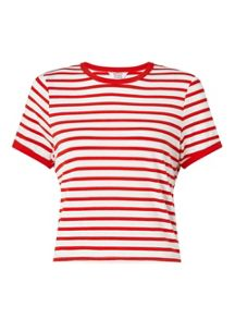 Miss Selfridge Petites Red Stripe T- Shirt